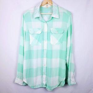 Check Plaid Mint Green and White Rayon Shirt